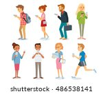 different characters with... | Shutterstock .eps vector #486538141