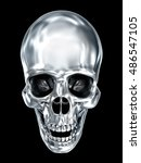 Metallic Human Skull Over Blac...