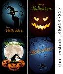 happy halloween greeting cards. ... | Shutterstock .eps vector #486547357