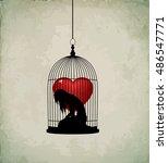sad girl silhouette in bird... | Shutterstock .eps vector #486547771
