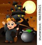halloween background with happy ... | Shutterstock . vector #486550621