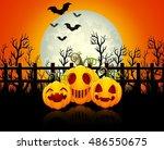 halloween background with happy ... | Shutterstock . vector #486550675