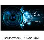 future technology  blue silver... | Shutterstock .eps vector #486550861