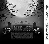 halloween background black and... | Shutterstock .eps vector #486552985