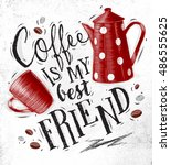 poster with cup and coffee pot... | Shutterstock .eps vector #486555625
