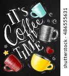 poster with cups of coffee... | Shutterstock .eps vector #486555631