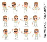 set of laughing and joyful... | Shutterstock .eps vector #486558607