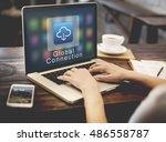 application connection digital... | Shutterstock . vector #486558787