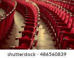 red chairs in theater interior... | Shutterstock . vector #486560839