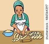 jewish woman makes a shabbats... | Shutterstock .eps vector #486564397