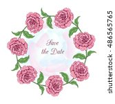 round frame with roses | Shutterstock .eps vector #486565765