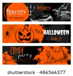 halloween chalk sketch elements ...   Shutterstock .eps vector #486566377