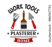 plasterer repairs work tools... | Shutterstock .eps vector #486567751