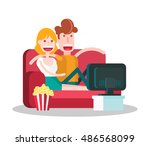 couple in love watching tv with ... | Shutterstock .eps vector #486568099