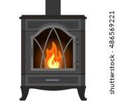 Metal Fireplace In Flat Style...