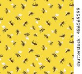 watercolor pattern with bees ... | Shutterstock . vector #486569599