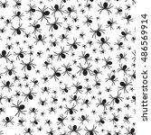 spiders seamless pattern. black ... | Shutterstock .eps vector #486569914