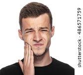 toothache. portrait of a man... | Shutterstock . vector #486571759