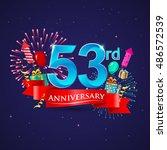celebrating 53rd anniversary...   Shutterstock .eps vector #486572539