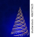 stylized christmas tree on... | Shutterstock .eps vector #486573625