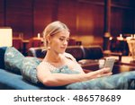 a model look blonde caucasian...   Shutterstock . vector #486578689