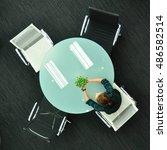 top view of meeting table | Shutterstock . vector #486582514