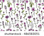 floral seamless pattern  sketch ... | Shutterstock .eps vector #486583051
