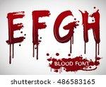 vector blood alphabet is... | Shutterstock .eps vector #486583165