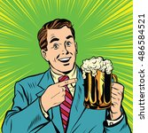 retro man with a beer pop art... | Shutterstock .eps vector #486584521