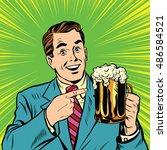retro man with a beer pop art... | Shutterstock .eps vector #486584521