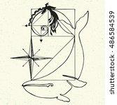 golden ratio   proportion. hand ... | Shutterstock .eps vector #486584539