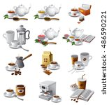 set of illustrations of coffee... | Shutterstock .eps vector #486590221