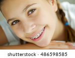 portrait of teen girl showing... | Shutterstock . vector #486598585