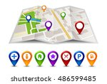 city map street view with... | Shutterstock .eps vector #486599485