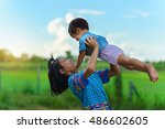 young southeast asian girl and... | Shutterstock . vector #486602605