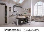 scandinavian kitchen  3d... | Shutterstock . vector #486603391