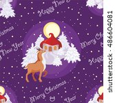 christmas seamless pattern with ... | Shutterstock .eps vector #486604081