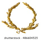 gold laurel wreath isolated on... | Shutterstock . vector #486604525