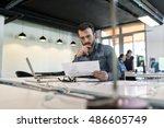 man in modern office start up...   Shutterstock . vector #486605749