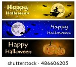 set halloween night background... | Shutterstock .eps vector #486606205