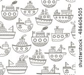Black And White Doodle Boats...
