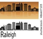 raleigh skyline in orange... | Shutterstock .eps vector #486607105