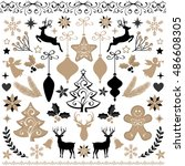 christmas elements set in gold... | Shutterstock .eps vector #486608305