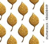 leaves pattern. gold hand... | Shutterstock . vector #486608449