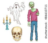 halloween elements set of color ... | Shutterstock .eps vector #486610711