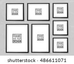 frames wall gallery on grunge... | Shutterstock .eps vector #486611071