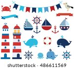 Vector Set Of Nautical And...