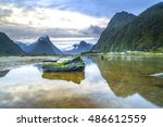 sunrise and reflection at mitre ... | Shutterstock . vector #486612559
