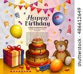 happy birthday greeting card....   Shutterstock .eps vector #486612649