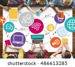 communication connection... | Shutterstock . vector #486613285
